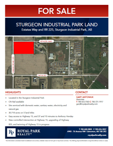 Five Parcels of Potential Rail Serviced Land Totaling 30.72 Acres