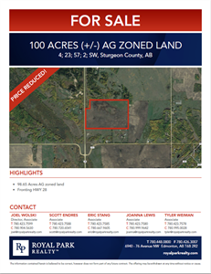 100 Acres (+/-) of Ag-Zoned Land - Price Reduced!